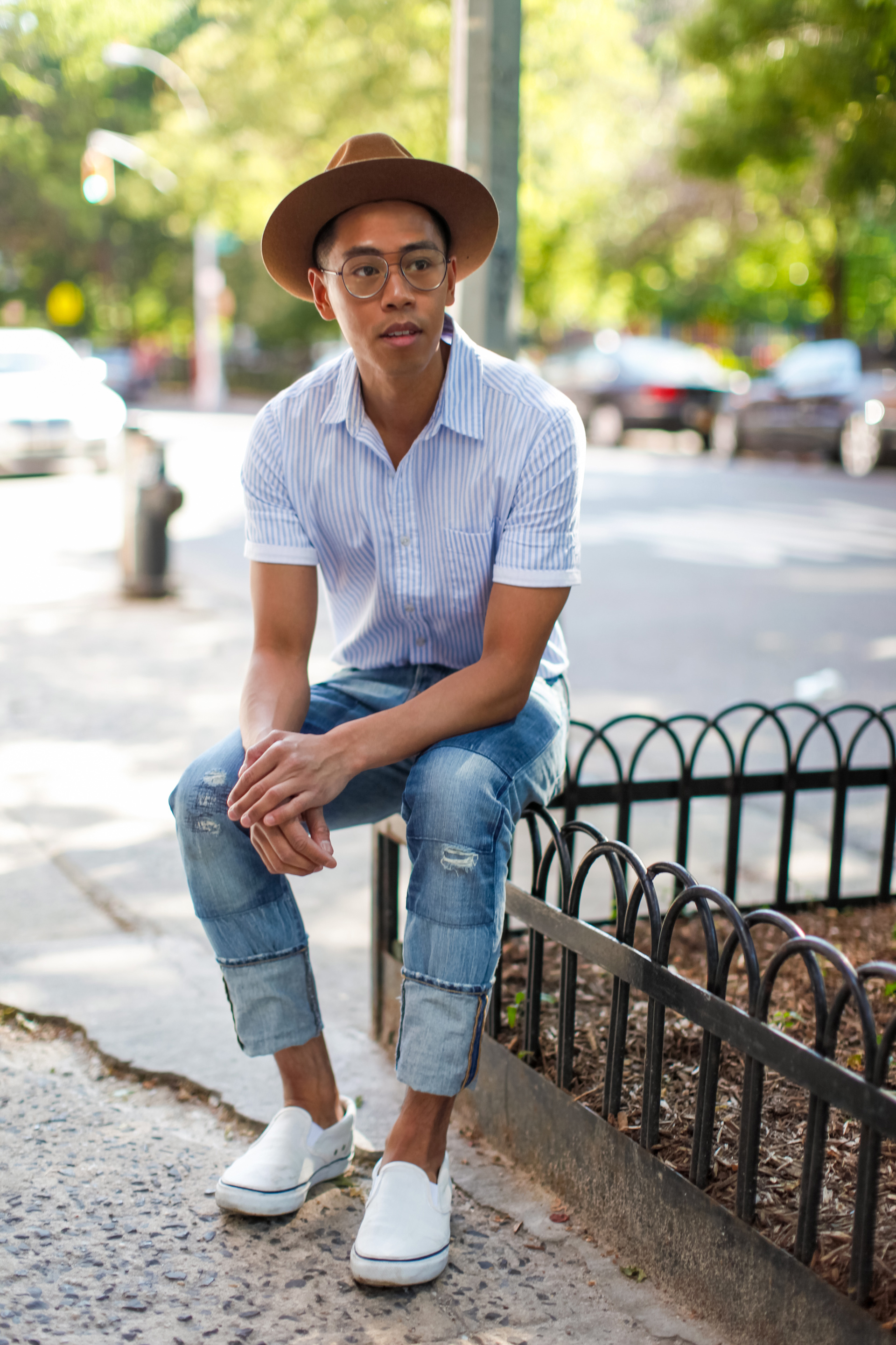 oh anthonio - patchwork denim outfit