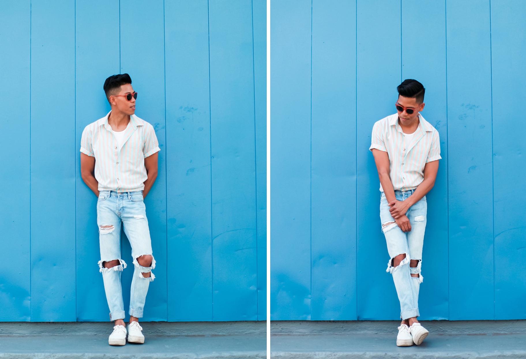 oh anthonio - mens candy stripe shirt