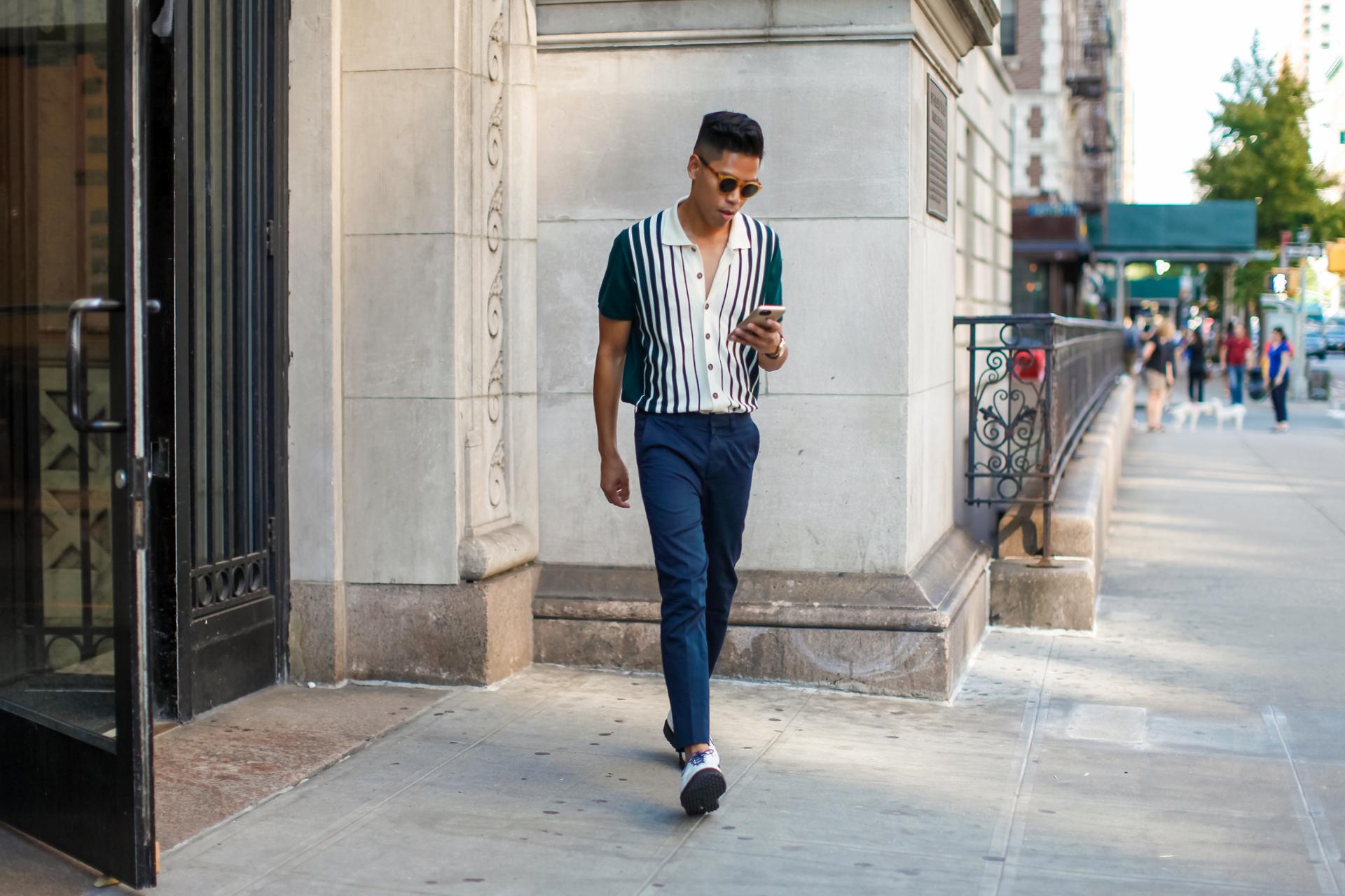 oh anthonio - Anthony Urbano - David Hart striped polo shirt NYFWM street style