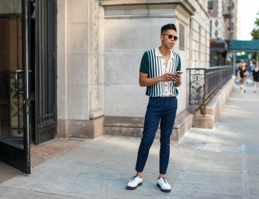 oh anthonio - Anthony Urbano - David Hart striped polo shirt NYFWM street style