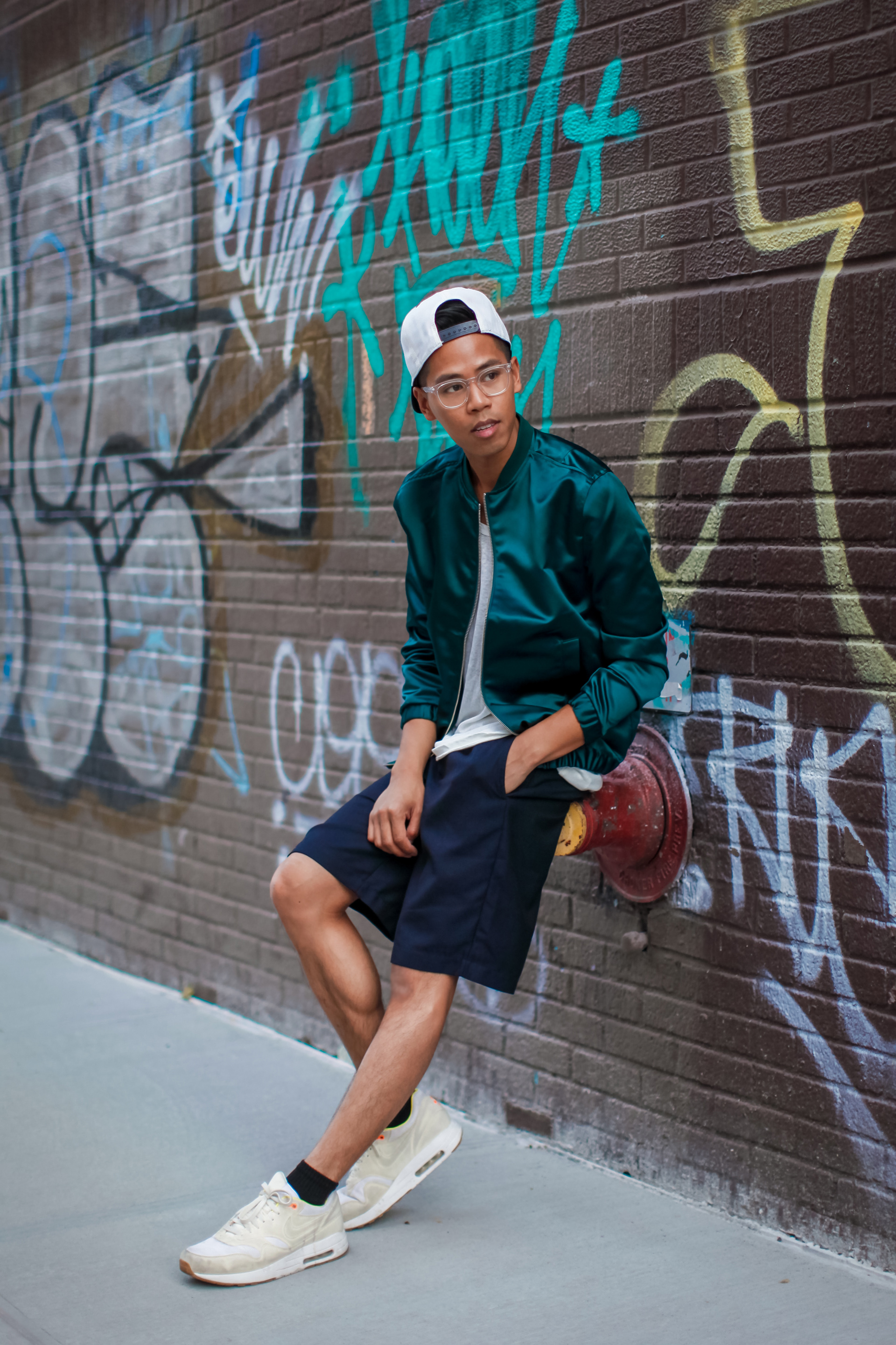 oh anthonio - Anthony Urbano - men's green satin bomber streetwear outfit