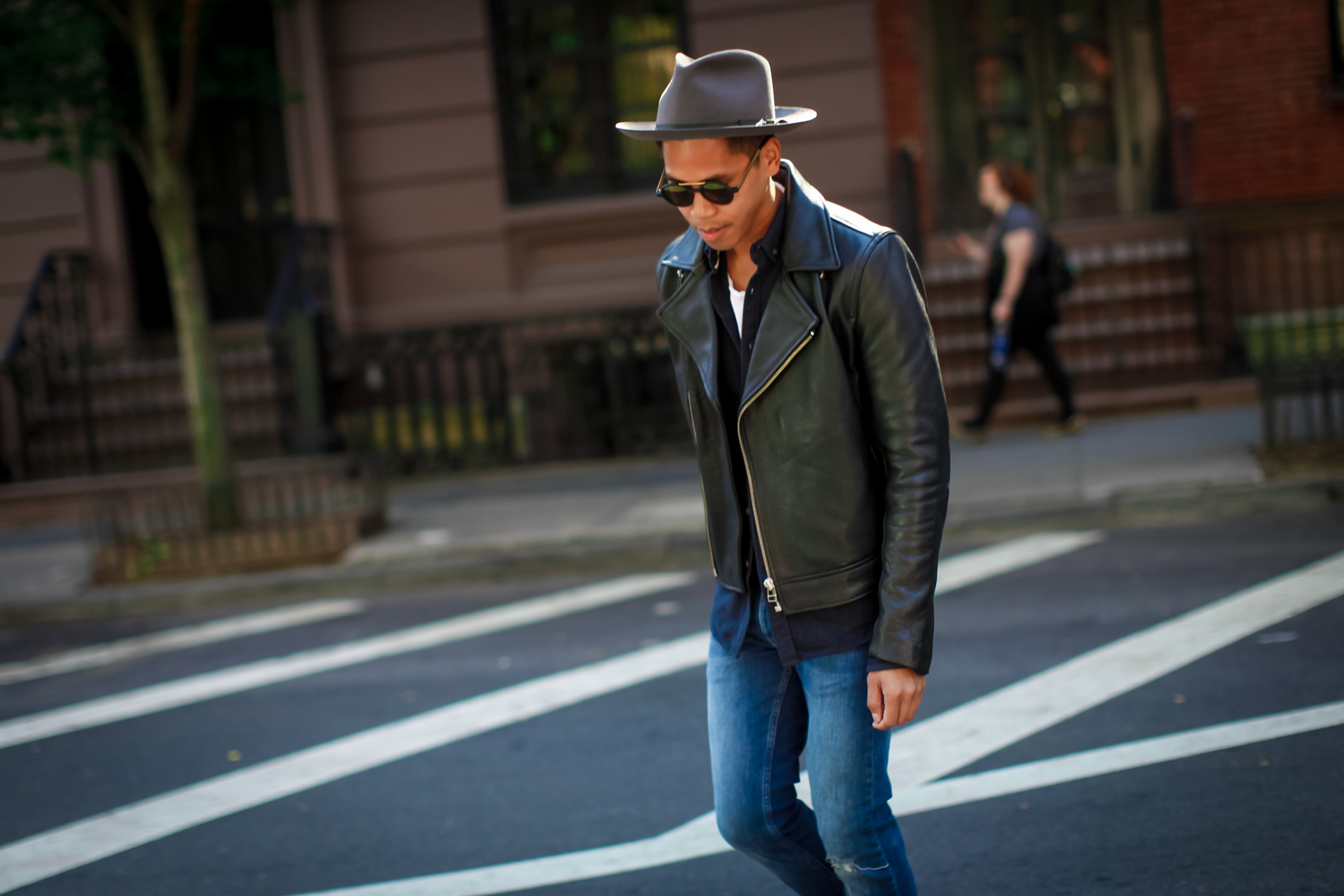 mens leather jacket streetstyle
