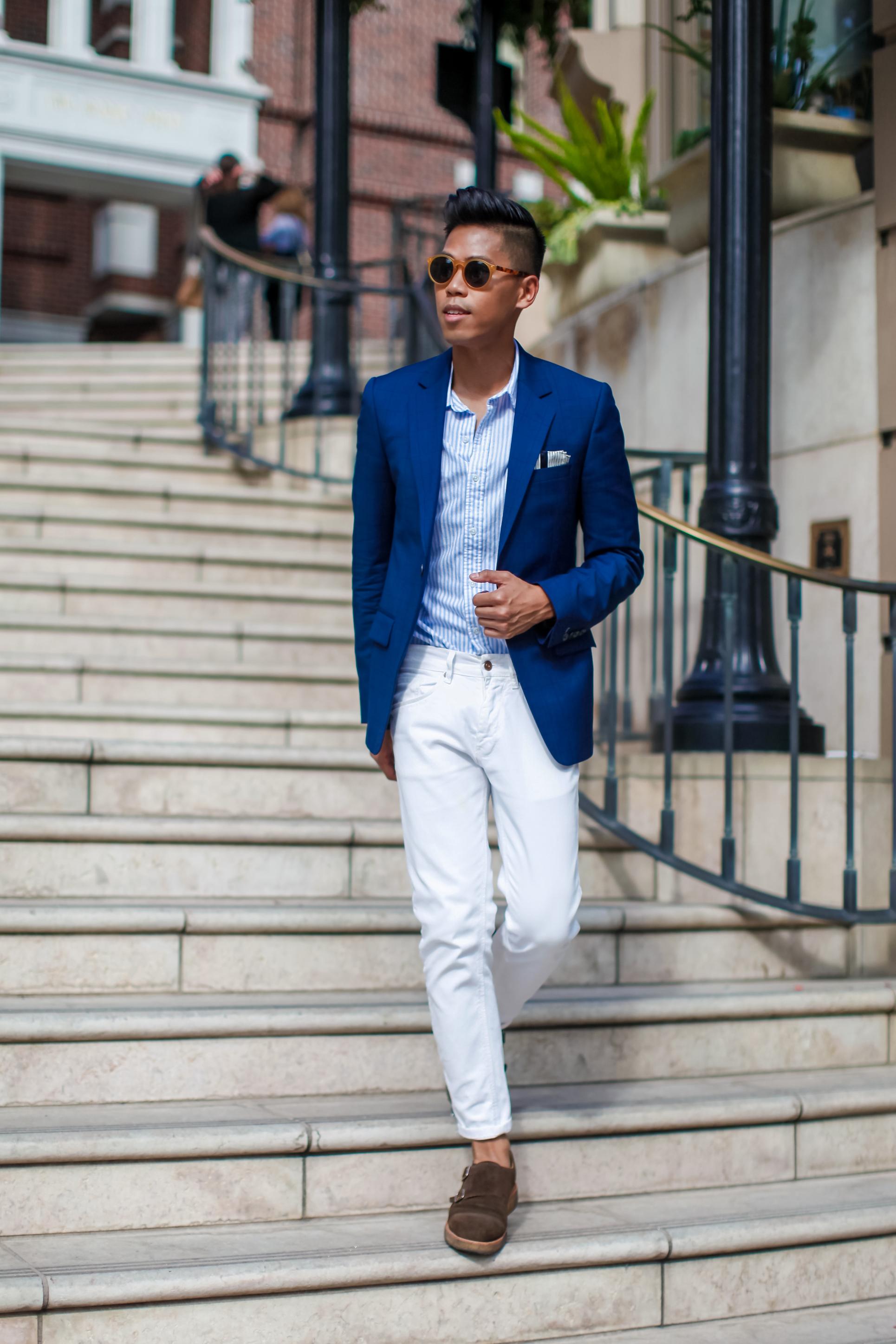 Wonderful Navy Blazer Light Blue Dress Shirt And Navy Tie With White Slacks