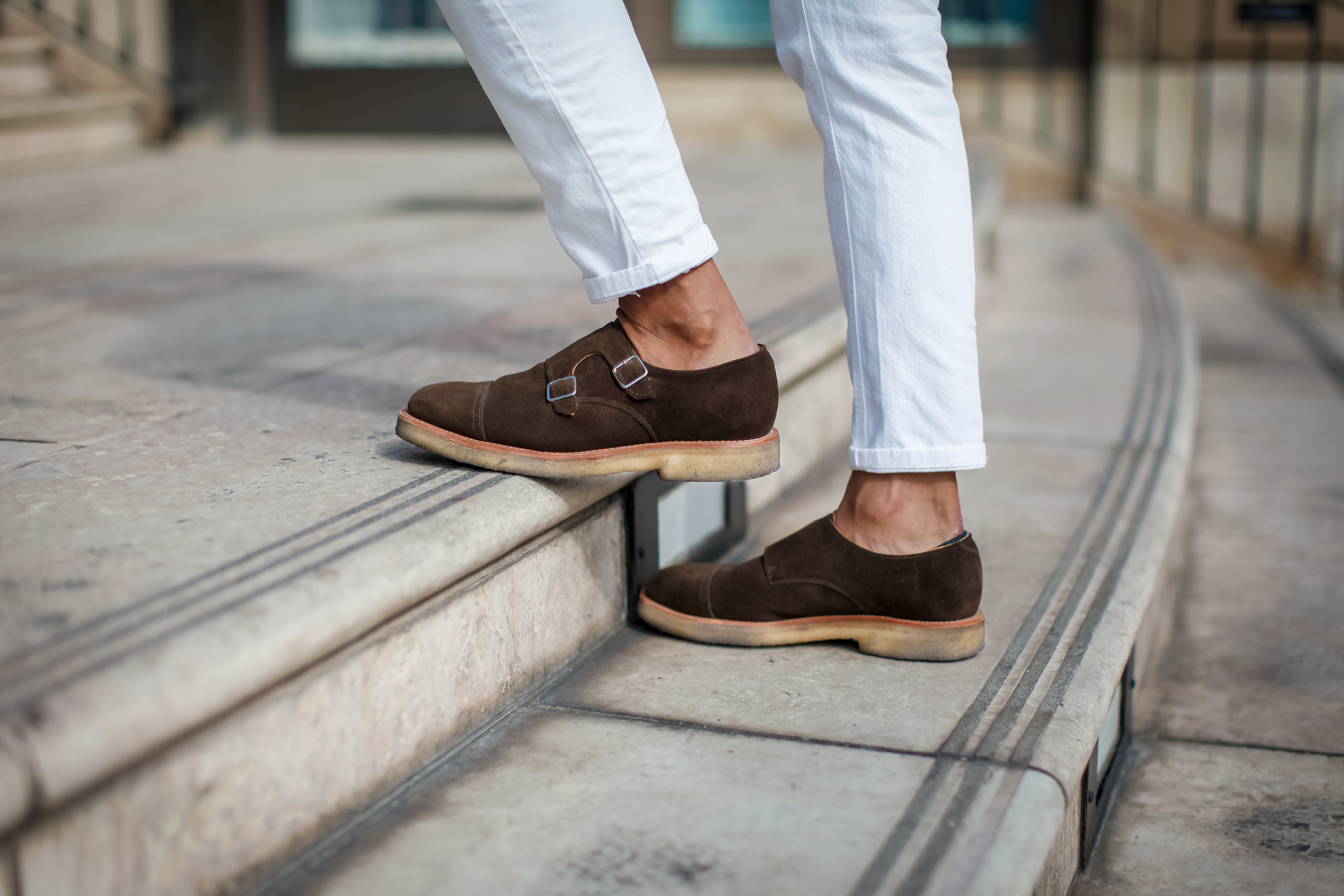 suede double monkstrap shoes