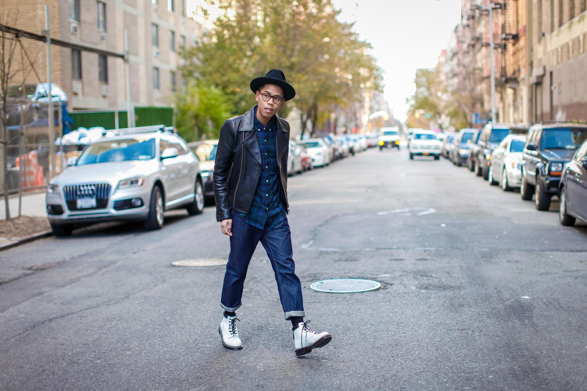 mens leather biker jacket street style