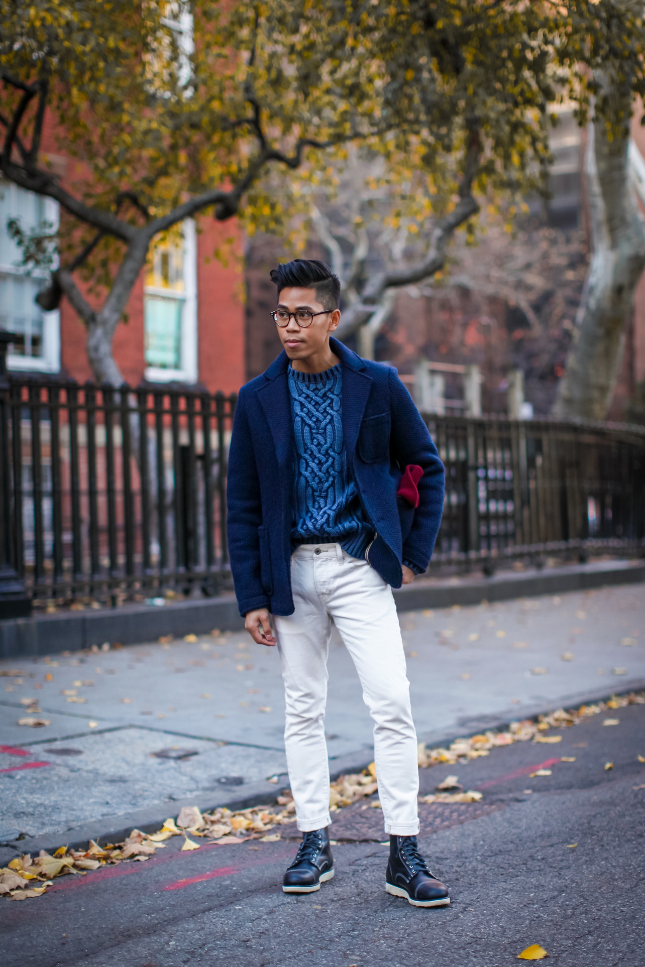 mens cable knit sweater street style