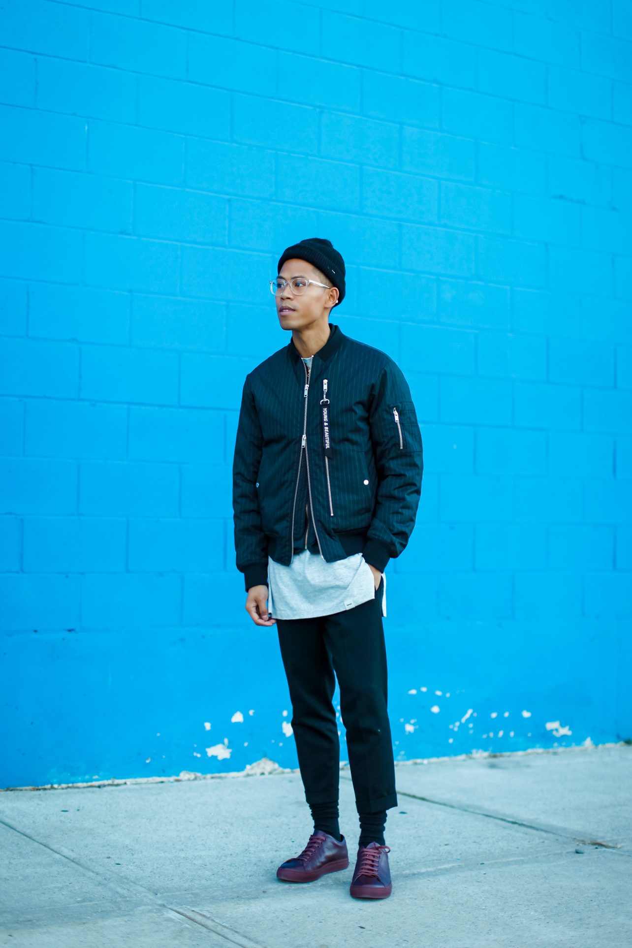 plac pinstripe bomber jacket