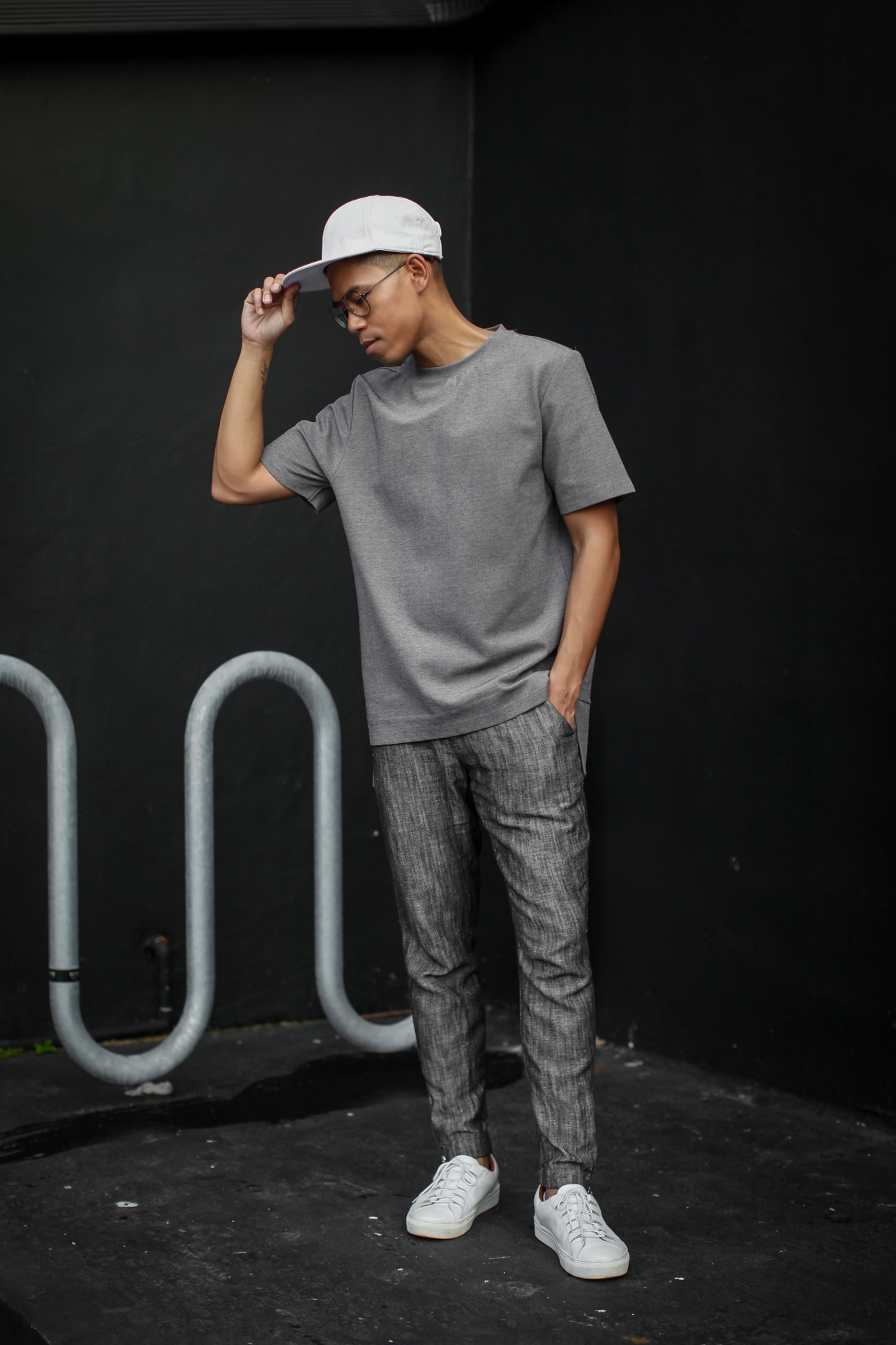 mens monochromatic gray outfit