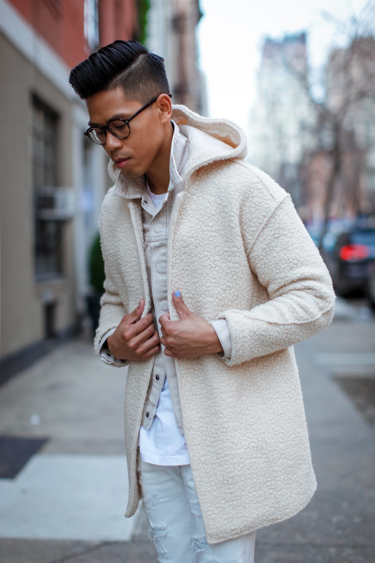 mens all white winter outfit