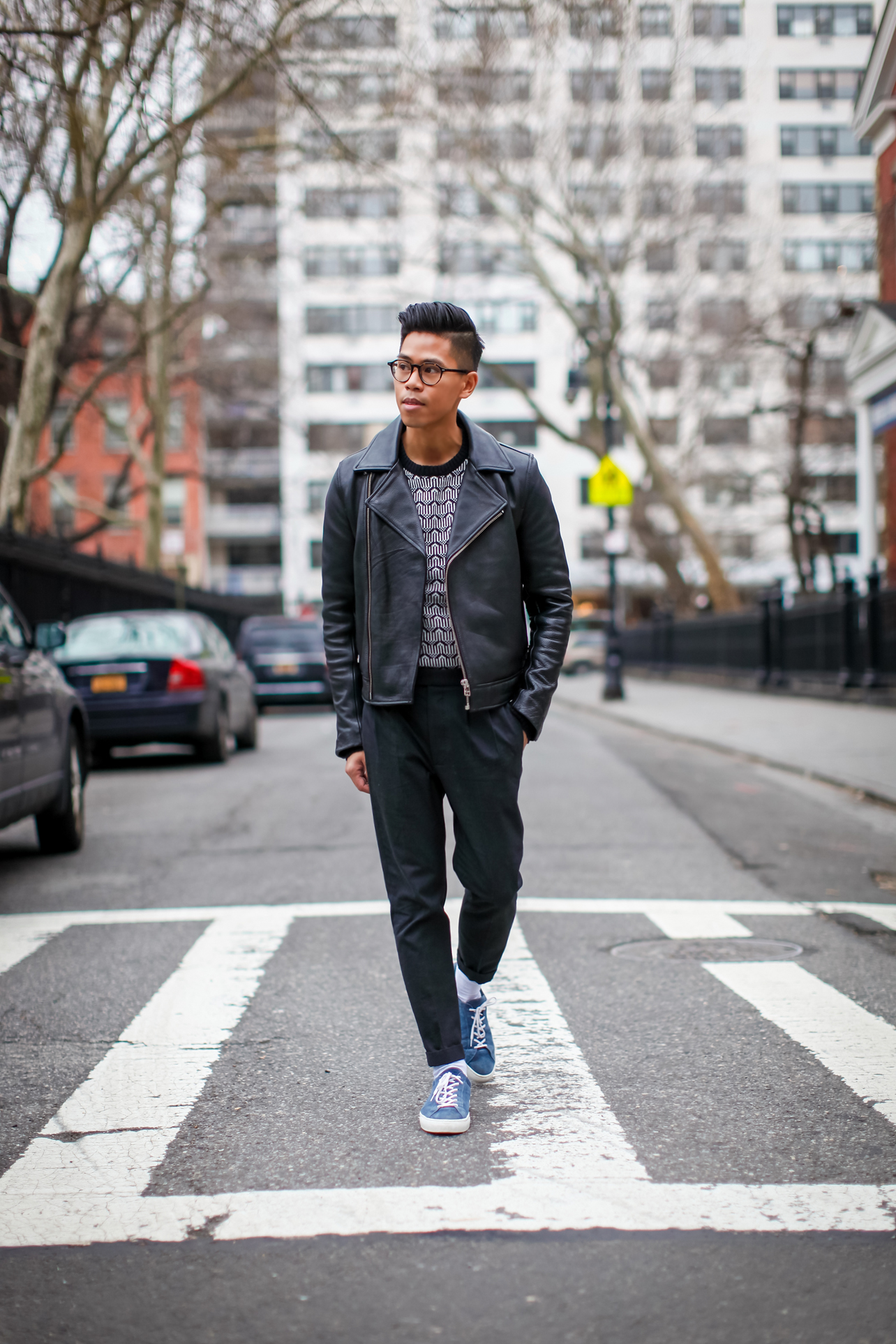 mens leather jacket street style