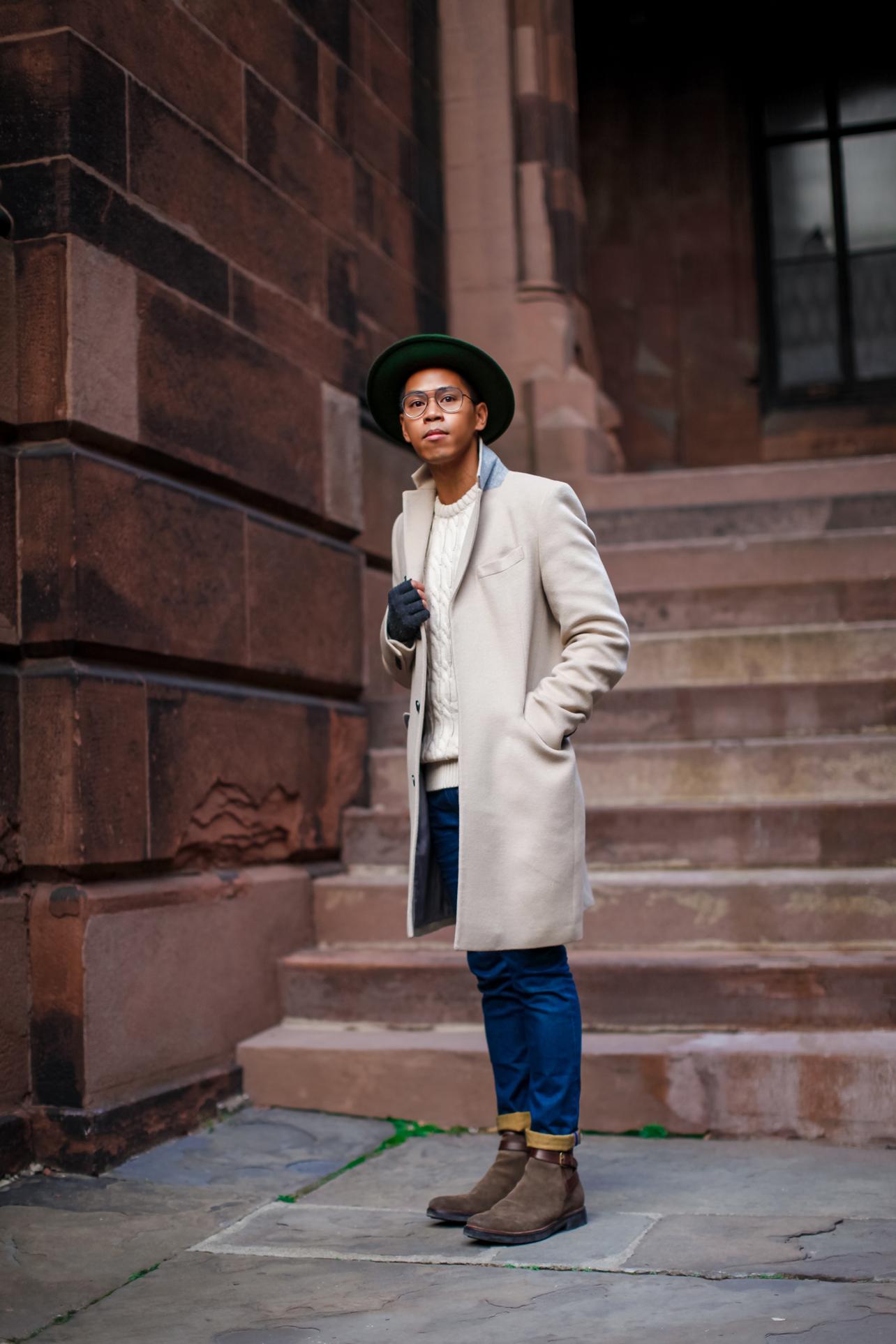 mens cream coat
