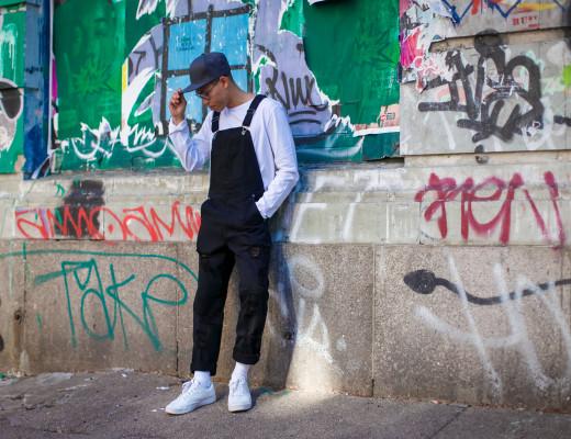 black mens overalls street style