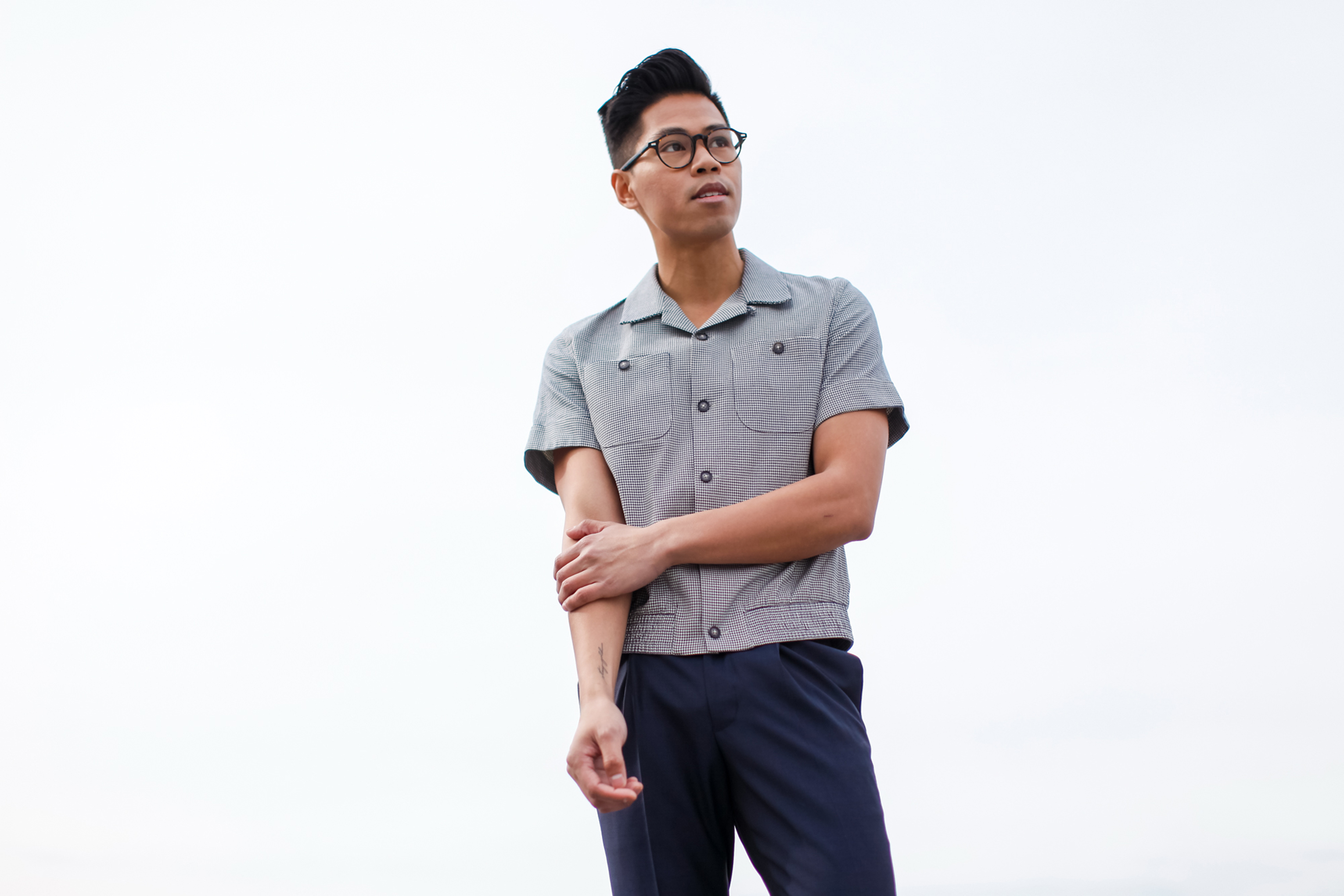 topman design revere collar shirt