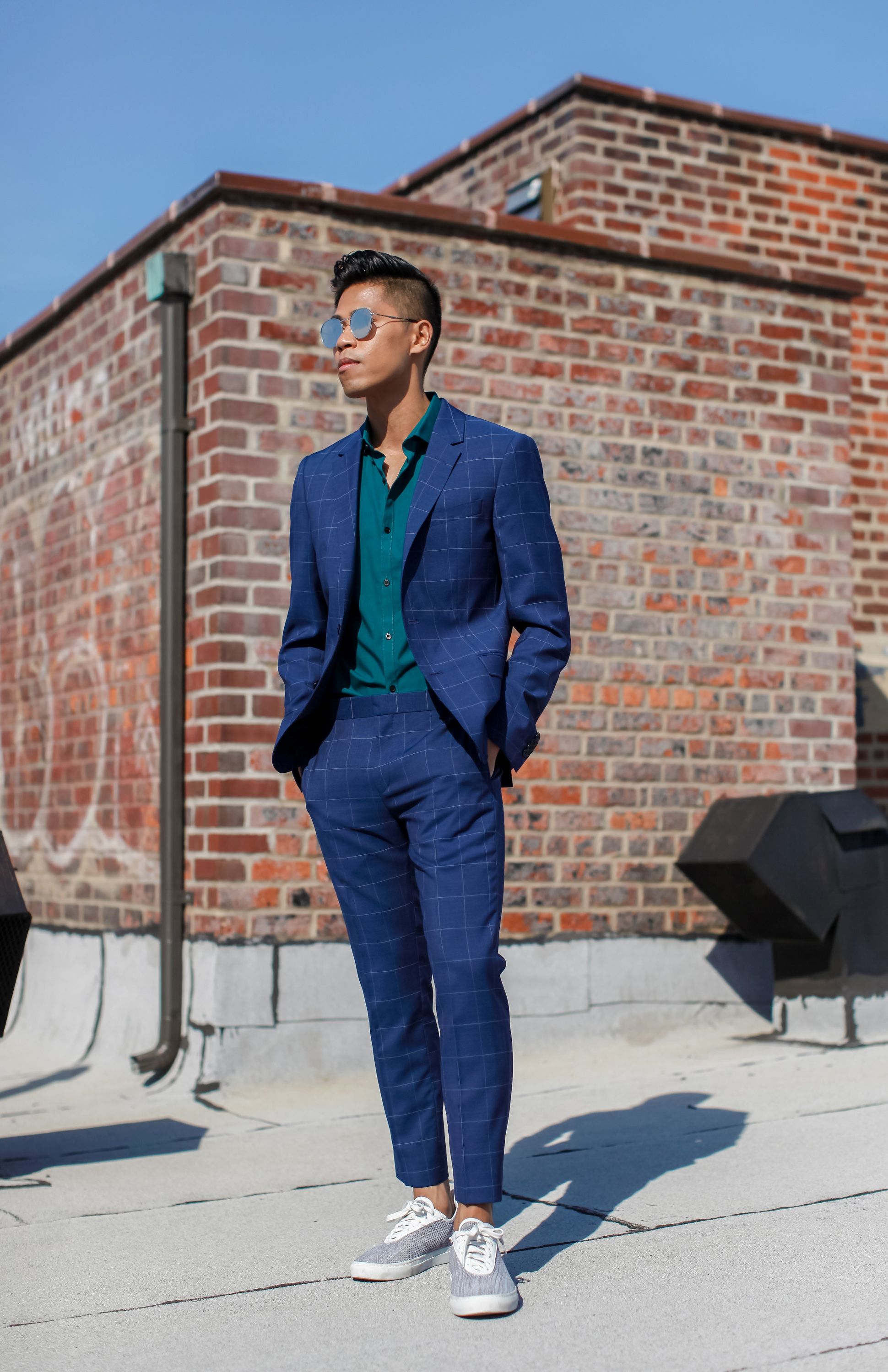 how to wear a windowpane suit