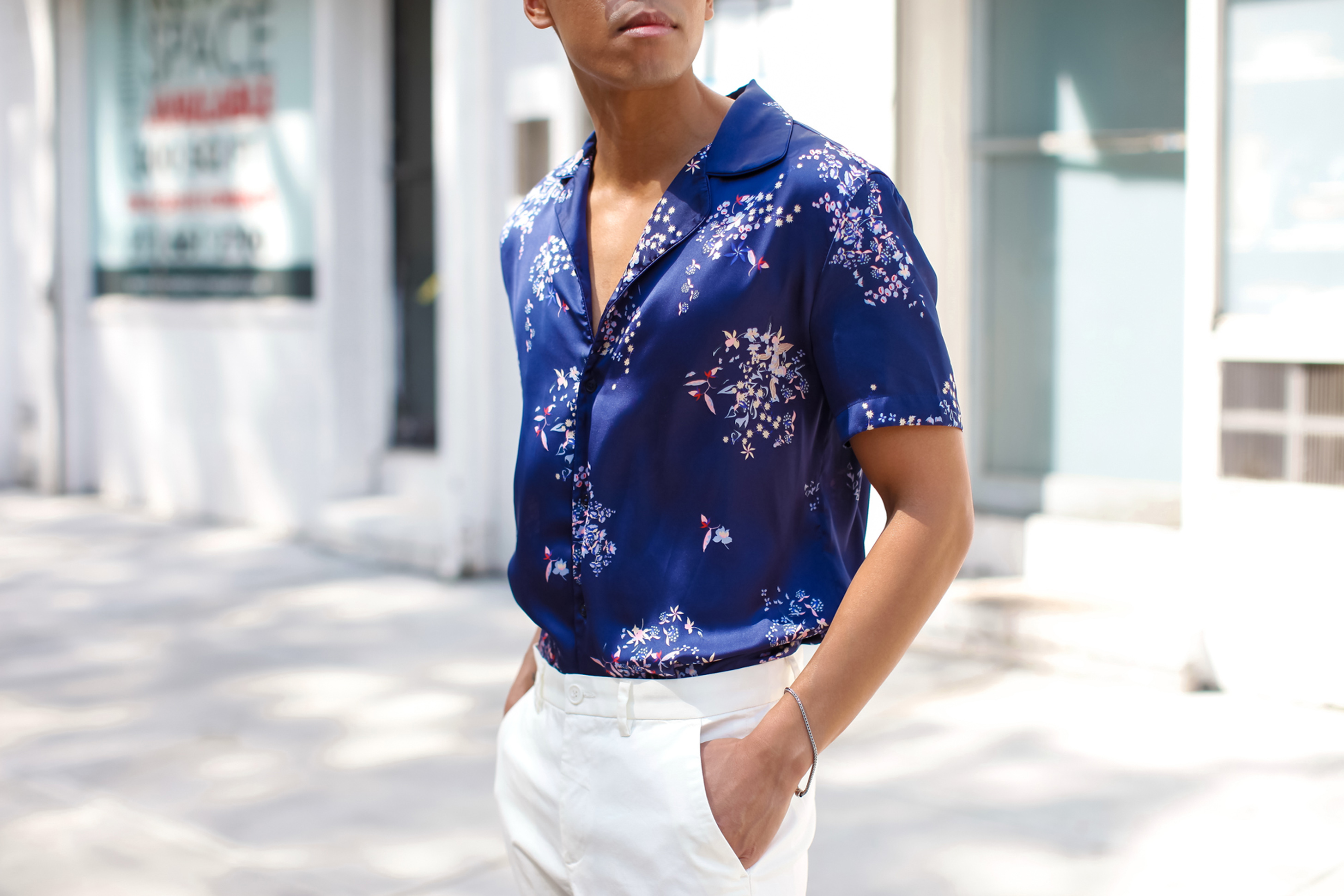 mens embroidered satin shirt