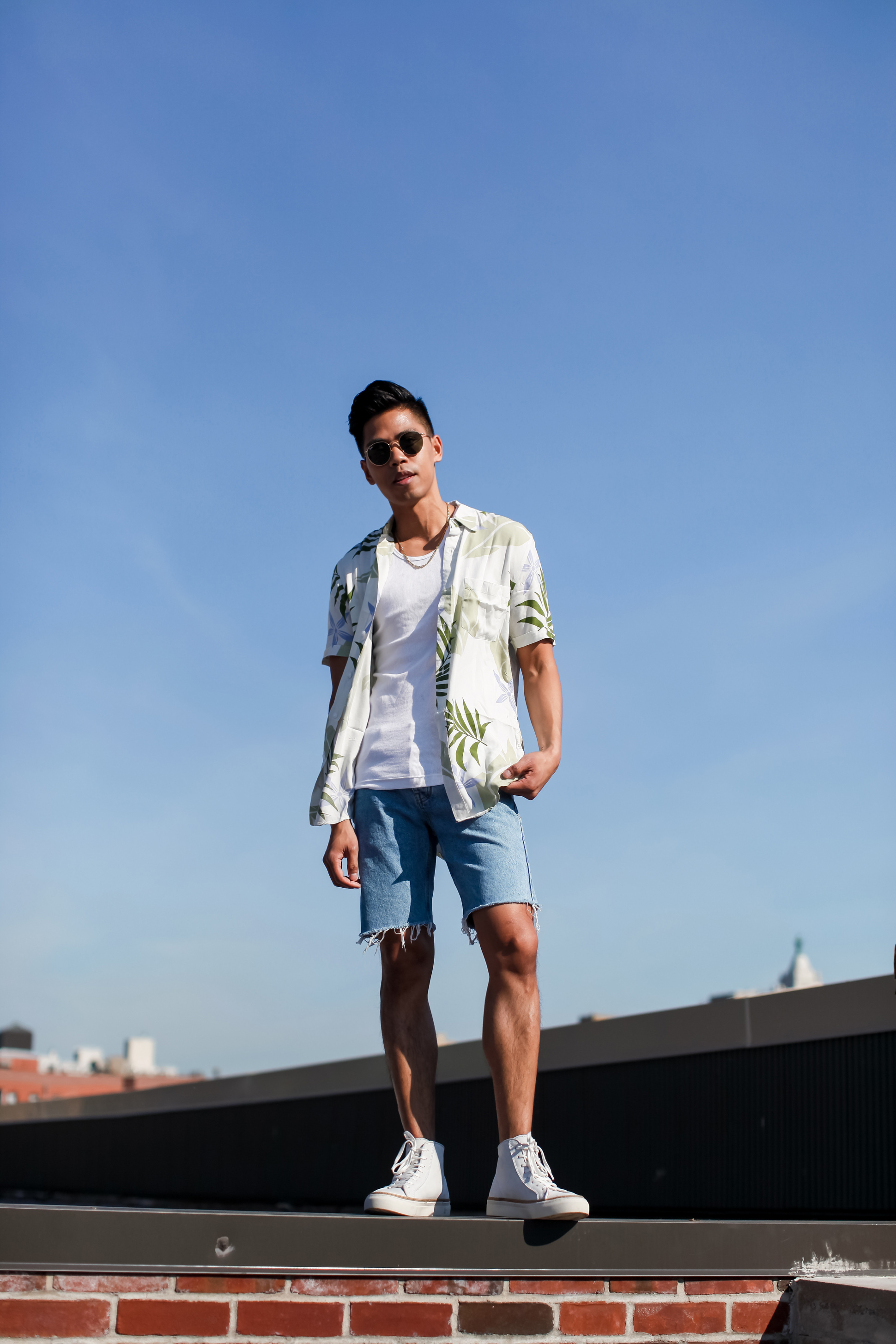 mens denim shorts street style