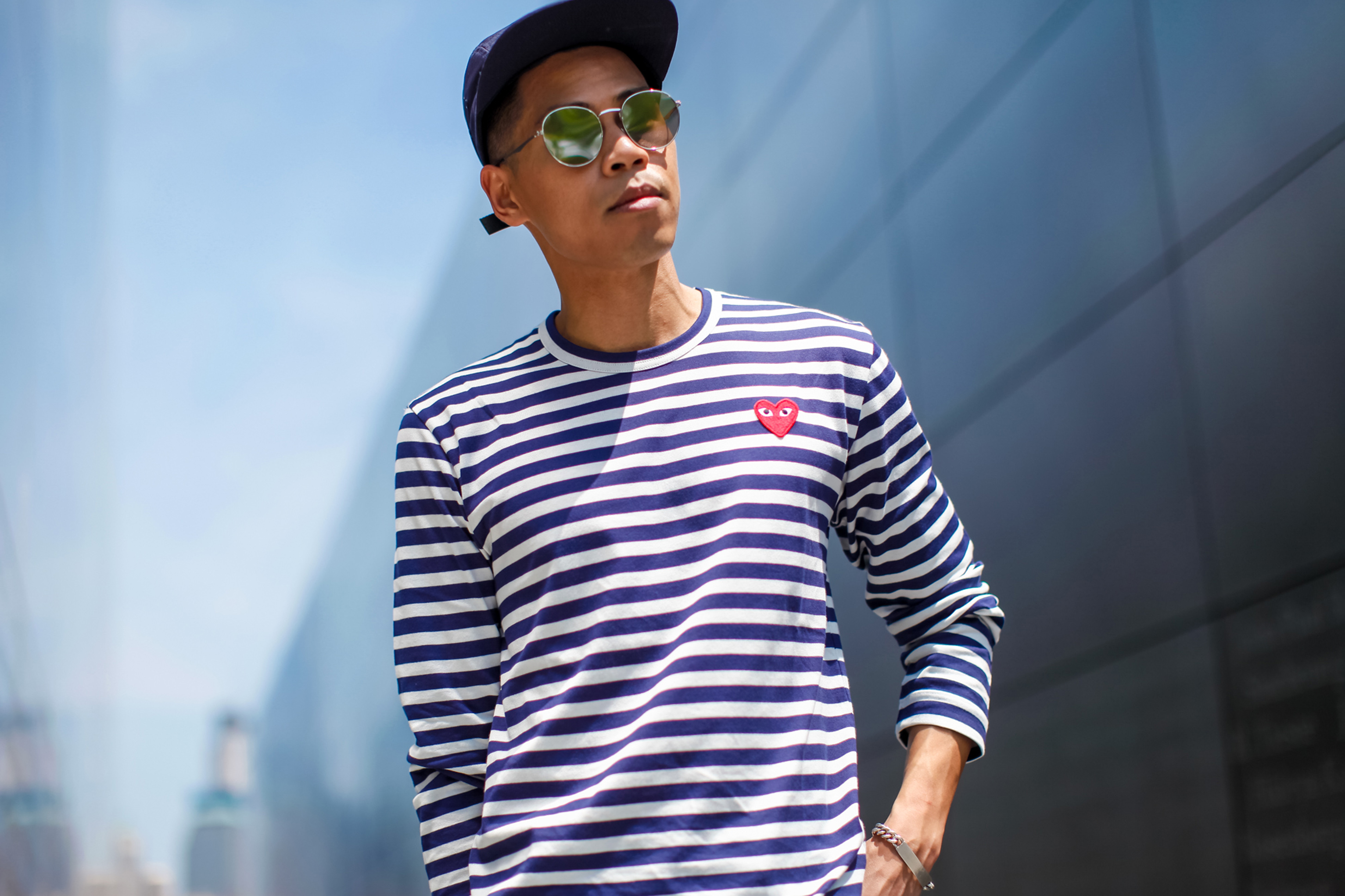 comme des garcon play striped shirt