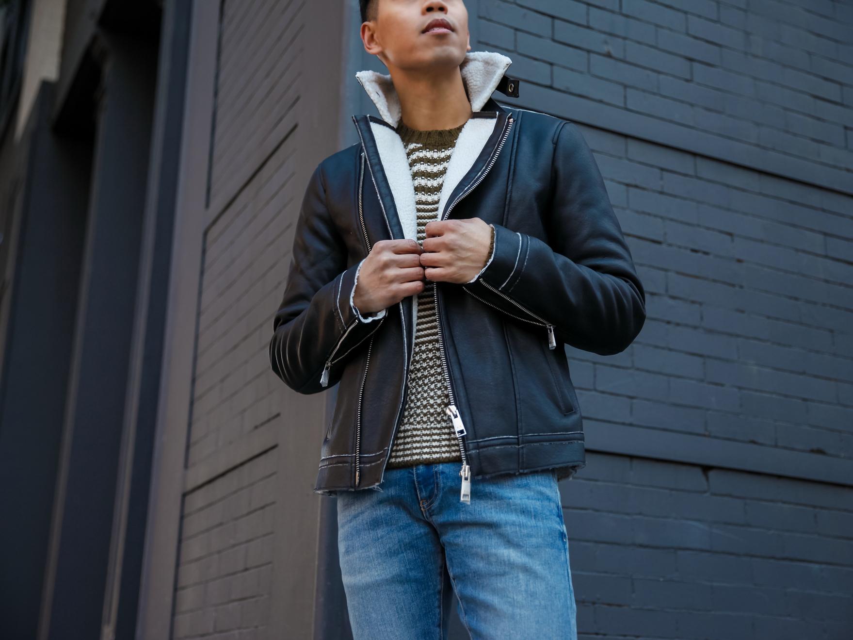 mens black shearling jacket street style