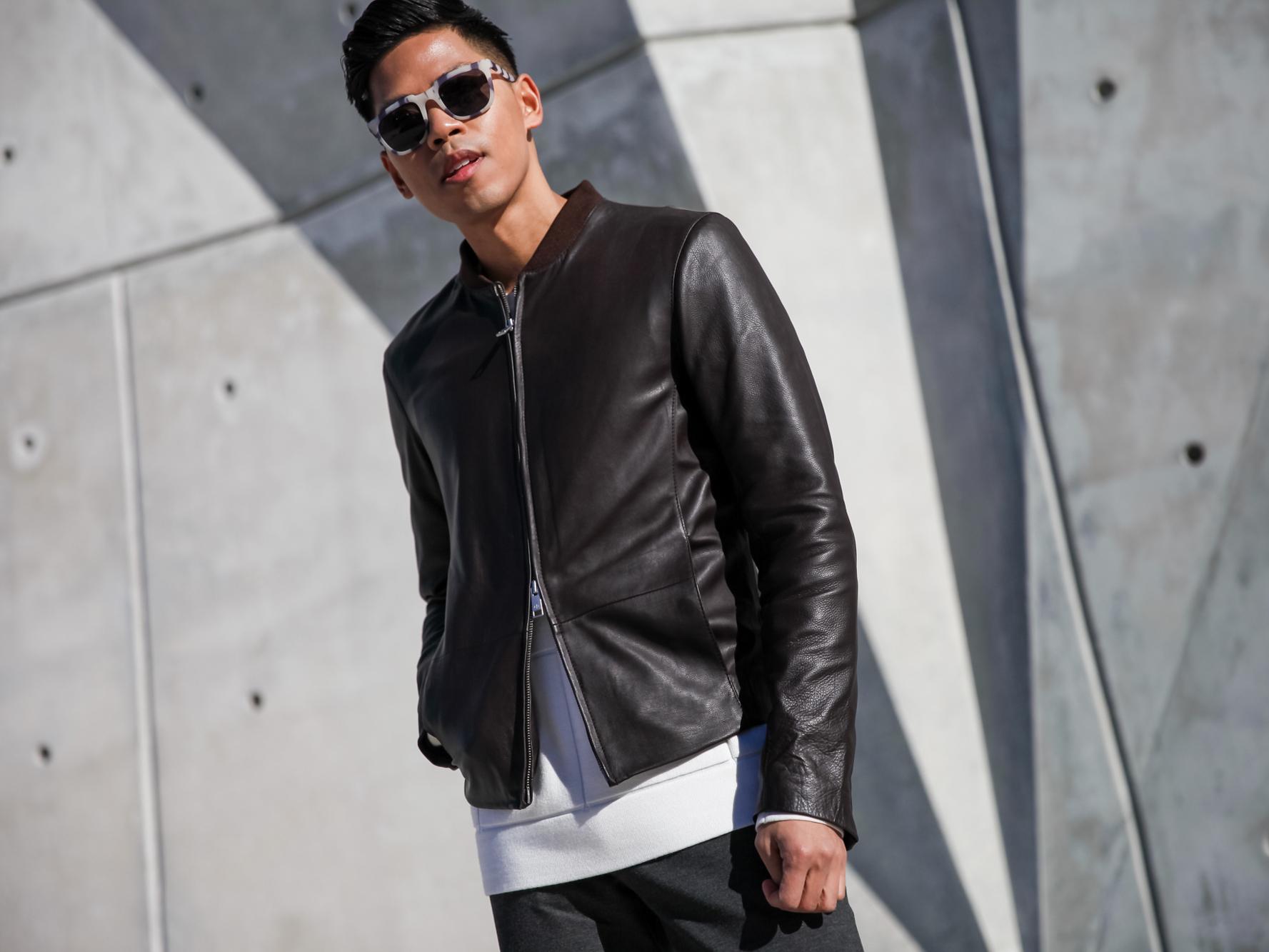 armani exchange leather jacket men