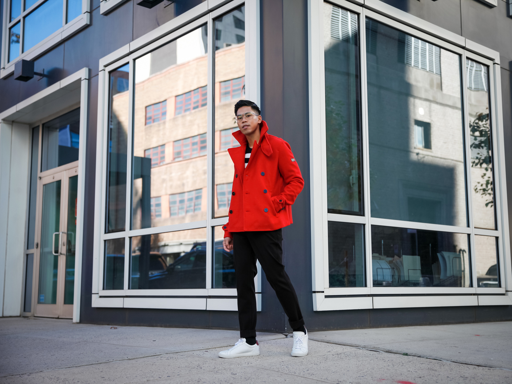 mens red jacket street style