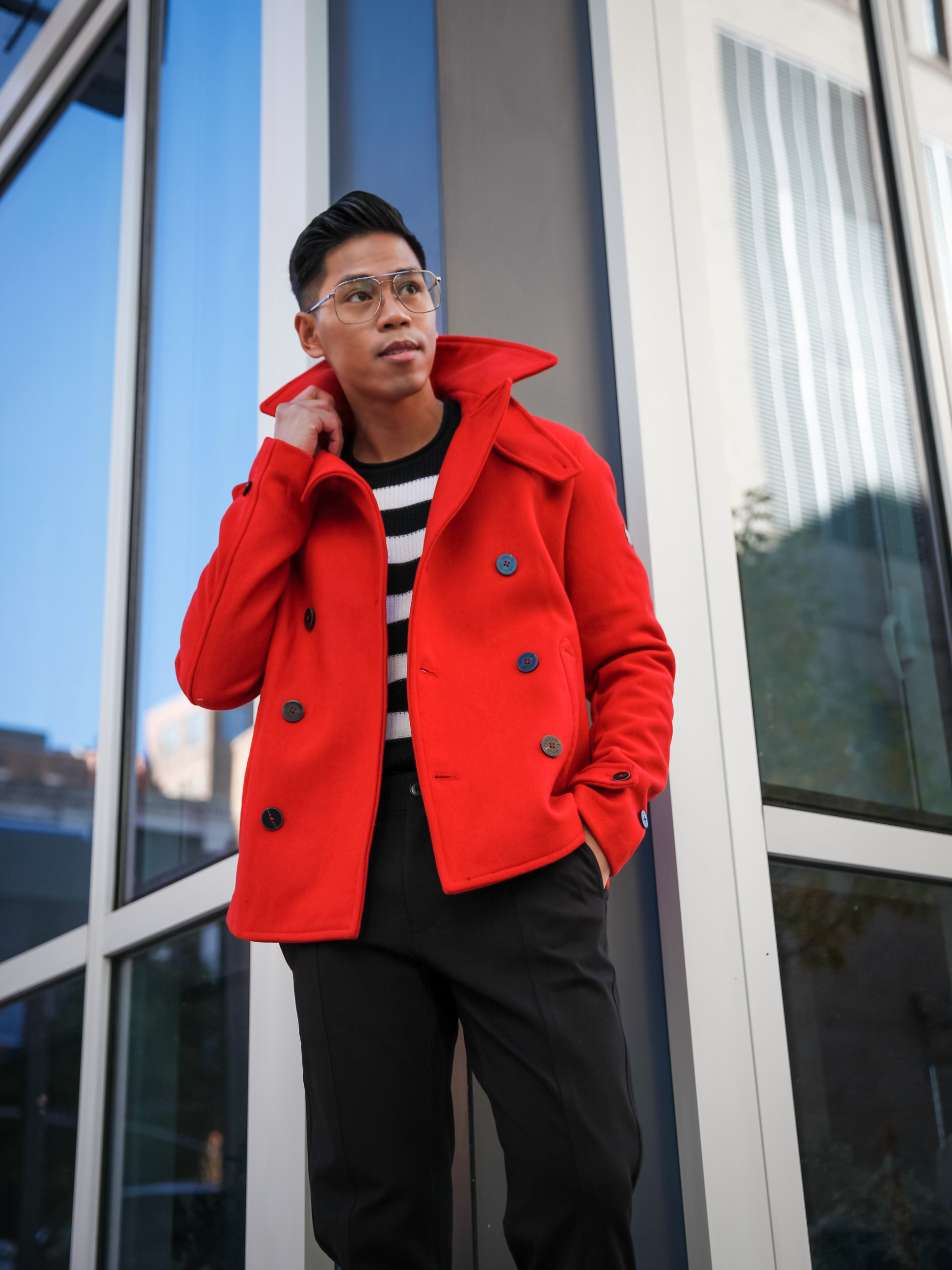 mens red wool peacoat