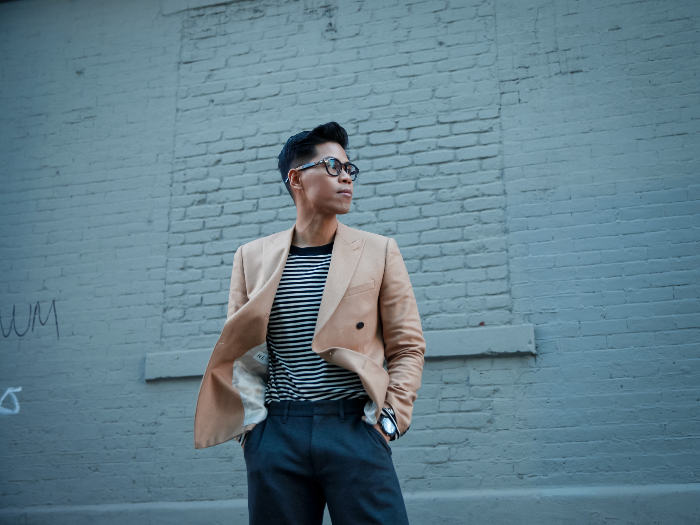 mens double breasted blazer street style