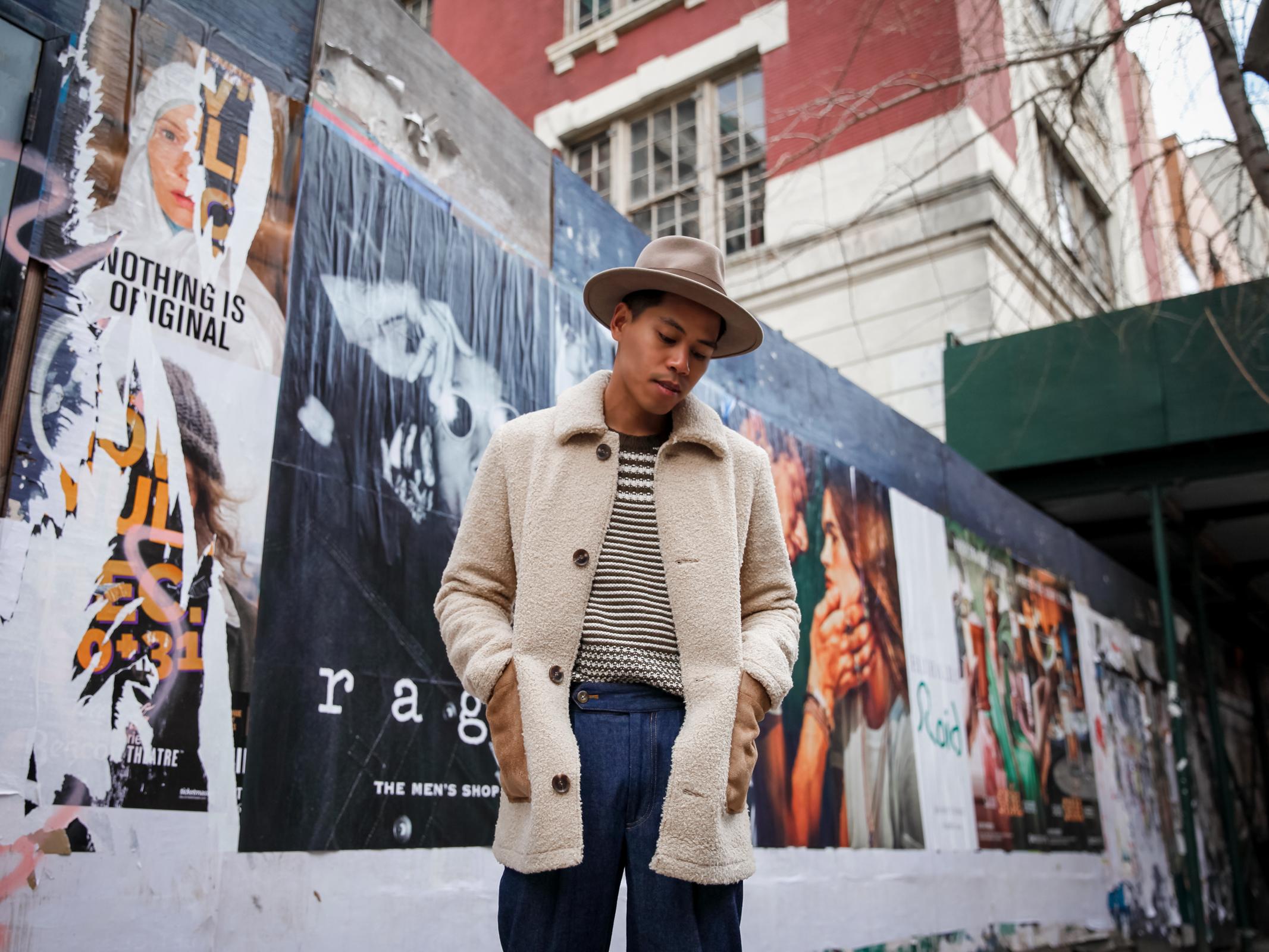 mens shearling jacket street style
