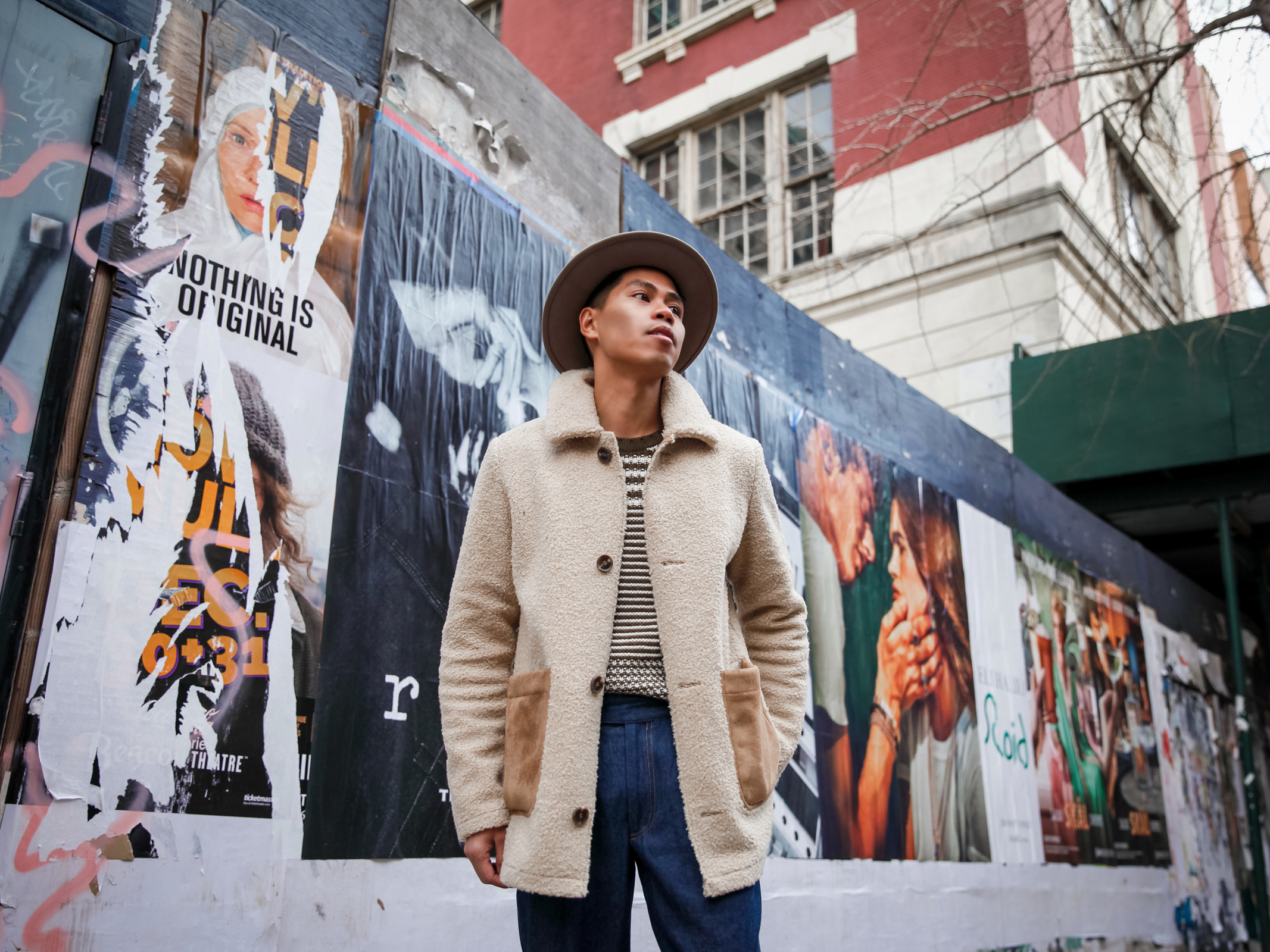 mens shearling jacket street style