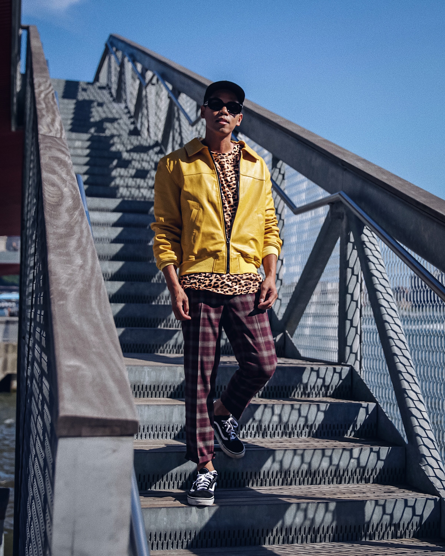 mens yellow jacket street style blogger
