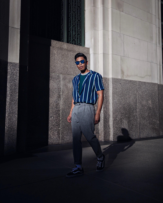 topman striped shirt street style blogger nyfw