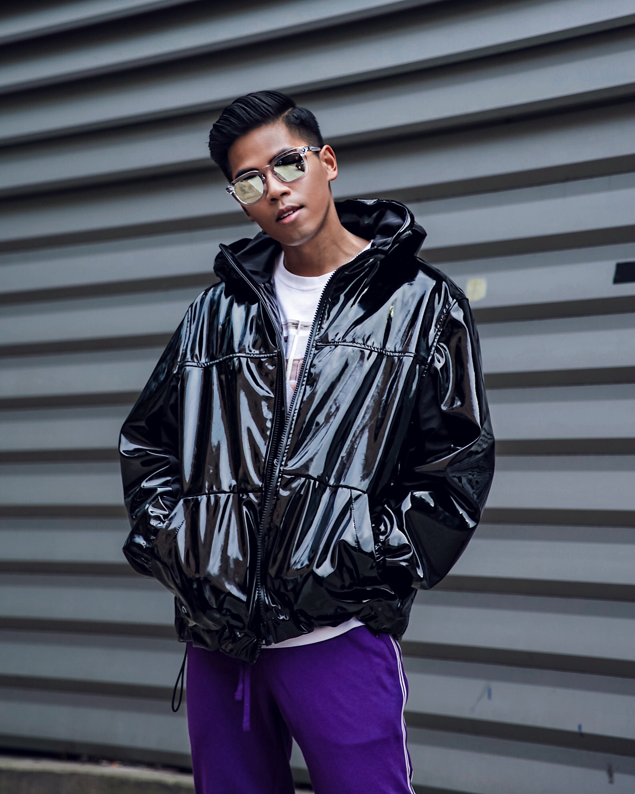 mens patent leather vinyl jacket street style blogger