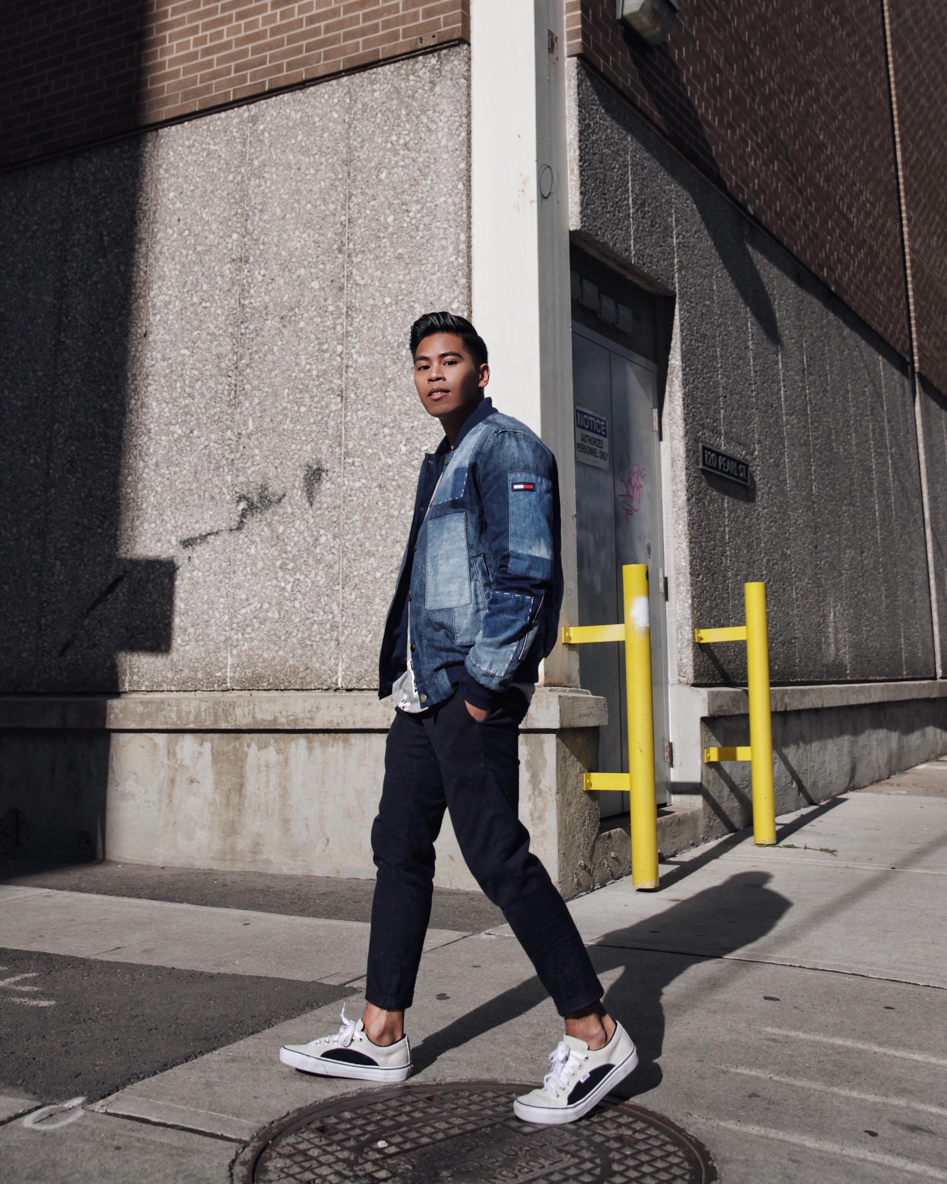 tommy hilfiger mens patchwork denim jacket street style blogger