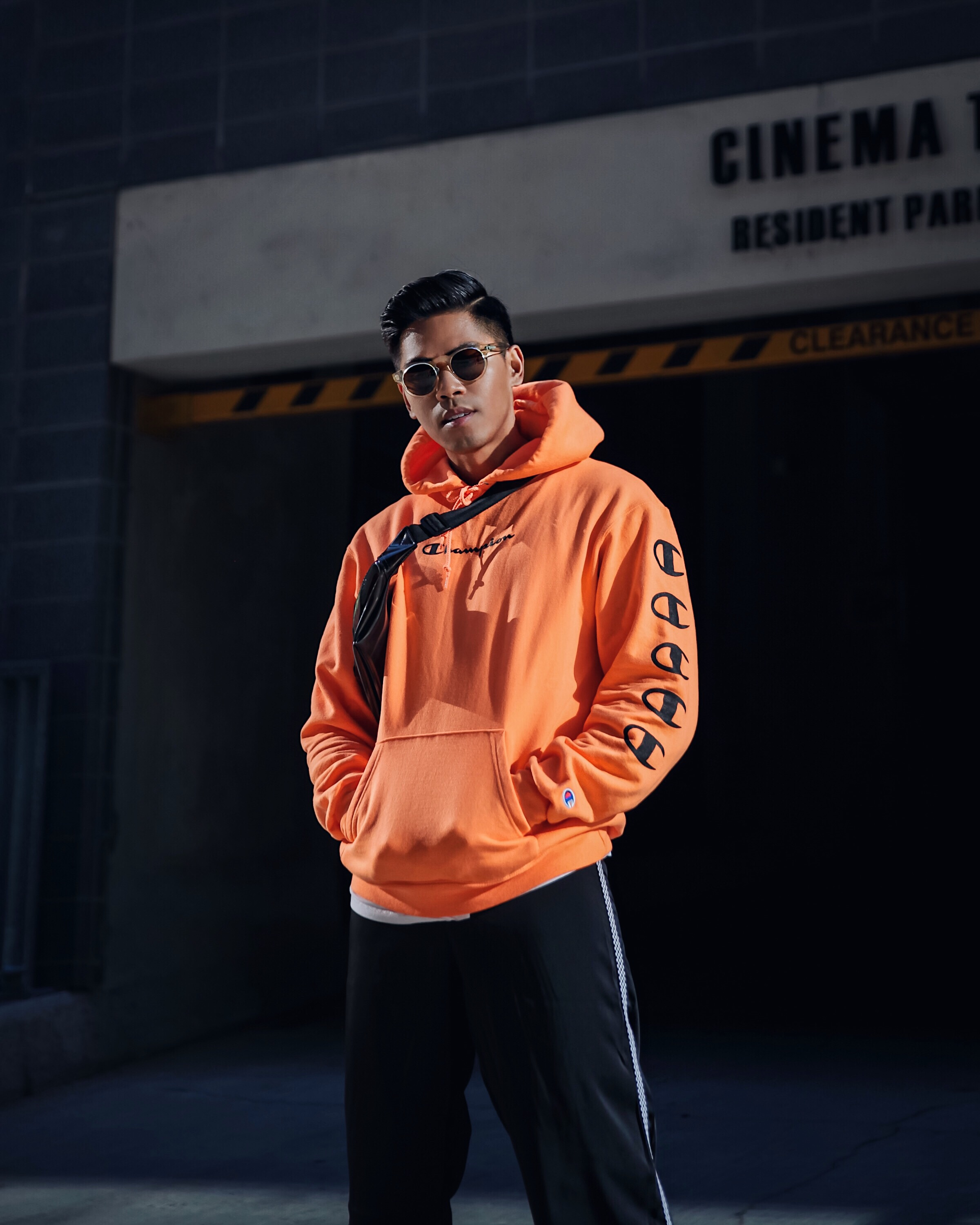 orange champion hoodie street style blogger