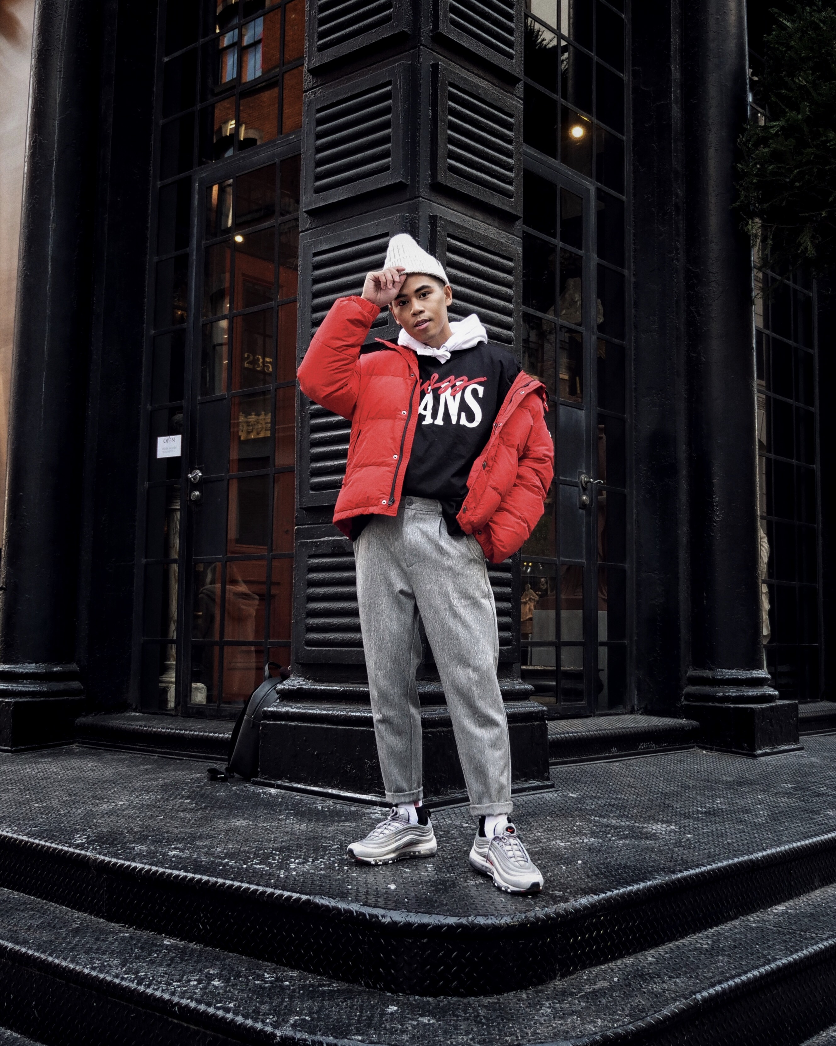 how to wear mens puffer jacket trend street style red puffer