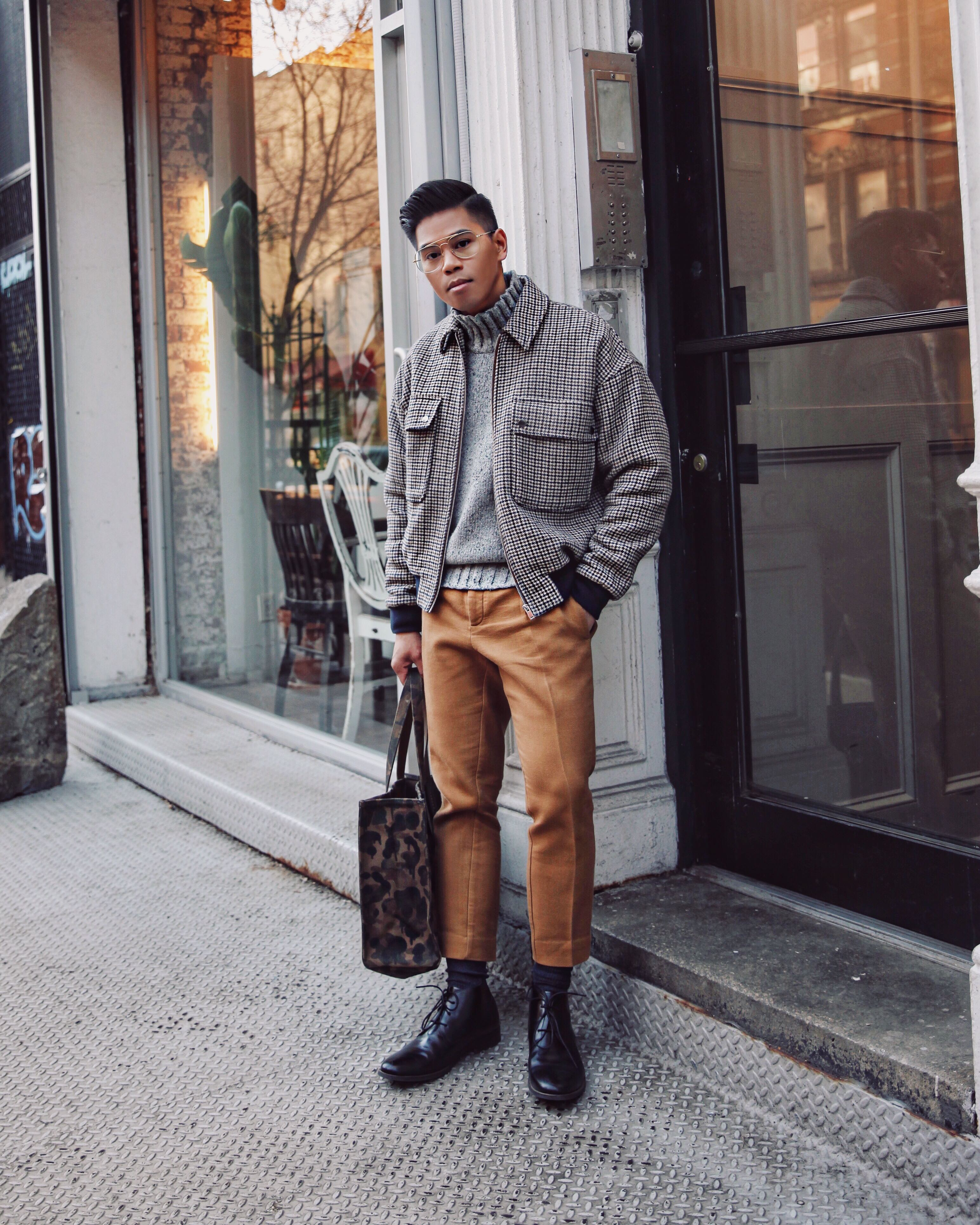 mens oversized checked jacket street style