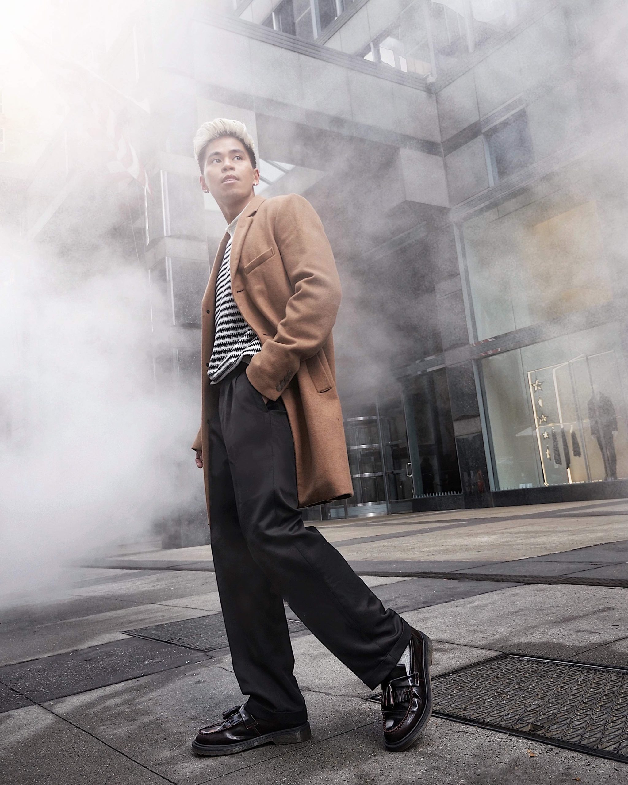 men's oversized trend relaxed tailoring holiday party outfit street style photoshoot